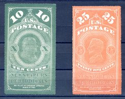 USA 1865 - Newpapers Periodicals / Timbres Pour Journaux 10c Vert/green + 25c Orange - (W1217) - Newspaper & Periodical