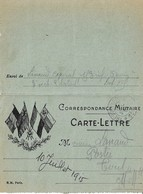 Carte Lettre Franchise Militaire 4 Drapeaux Trésor Et Postes 12 - Marcophilie (Lettres)
