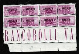 1949 Italia Italy Trieste A  PACCHI POSTALI Corno (Rm) 30 Lire In Quartina MNH** - 7. Trieste