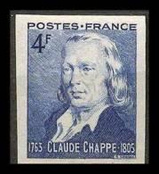France N°619 Télégraphe Optique Chappe Non Dentelé * MH (Imperforate) - Francia