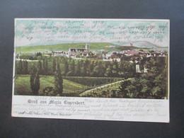 Österreich 1900 AK Groß Aus Maria Enzersdorf Verlag Ludwig Graf. Nach Karlsbad Mit Strichstempel - Maria Enzersdorf
