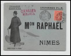 53211 Semeuse N°129 Granier Gare De Miramas Cad A3 1906 Maison Raphael Nimes Gard Tailleur Enveloppe Illustree - Marcophilie (Lettres)