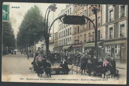 CPA Paris  Boulevard De Charonne - Le Métropolitain Station Bagnolet (XXè) En Couleur - Places, Squares