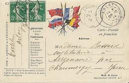 Carte Postale Franchise Militaire 6 Drapeaux - Postmark Collection (Covers)