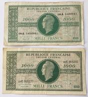 France, 1000 Francs, 1943-1945 Marianne, 1945, TTB / TB, Fayette:VF 13.2 + VF.12.1 (billets De Banque Banknote - 1943-1945 Marianne