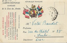 Carte Postale Réponse + Trésor Et Postes - Marcophilie (Lettres)