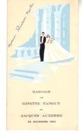 Menu  Mariage  25 Novembre 1950 - Menus