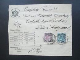 Österreich 1899 Nr. 52 U. 56 MiFUmschlag Postwertzeichen. An Fürtstl Von Metternich Winneburg Schloss Könisgwart - Briefe U. Dokumente