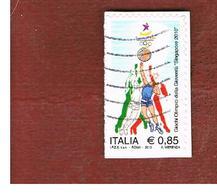 ITALIA REPUBBLICA  -  2010 GIOCHI SINGAPORE   - USATO ° - 6. 1946-.. Repubblica