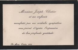 Carton De Remerciement Suite à Décès/CANADA/ Mr Joseph CLOUTIER Et Ses Enfants/Sainte Marie/1929   FPD119 - Décès