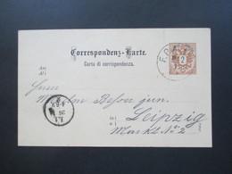 Österreich 1885 GA Stempel Fahrendes Postamt F. P. A. Reichsadler  (Ital.) Nach Leipzig - Briefe U. Dokumente