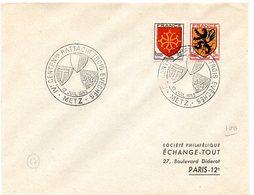 HERALDIQUE = 57 METZ 1952 = CACHET TEMPORAIRE  Illustré De 3 ARMOIRIES 'RATTACHEMENT TROIS EVECHES' - Marcophilie (Lettres)