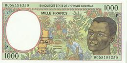 """L'AFRIQUE CENTRALE 1000 FRANCS GREEN MAN FRONT MAN BACK LETTER """"P"""" CHAD SIGN.19 ND(2000) P402? UNC  READ DESCRIPTION - Banconote"""