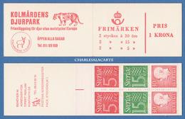 SWEDEN 1966 SLOT-MACHINE BOOKLET GUSTAF VI / NUMERALS ZOO COVER FACIT HA 15 B1 R - 1981-..