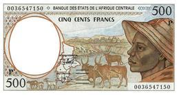 """L'AFRIQUE CENTRALE 500 FRANCS BROWN MAN FRONT ANIMAL  BACK LETTER """"P"""" CHAD SIGN.19 ND(2000) P401? UNC  READ DESCRIPTION - Banknotes"""