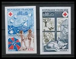 France N°1828 / 1829 Croix Rouge (red Cross) 1974 L'été L'hiver Non Dentelé ** MNH (Imperforate) - Francia