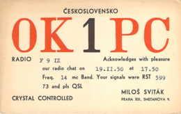 Carte QSL Radio-amateur Prague Tchéquoslovaquie Ceskoslovensko 1950 - Radio Amateur