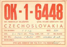 Carte QSL Radio-amateur Staré Krecany Tchéquoslovaquie  Czechoslovakia 1951 - Radio Amateur