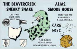 Carte QSL CB Beavercreek Sneaky Snake Ohio USA - CB