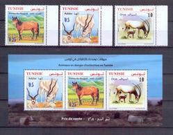 Tunisia/Tunisie 2019 - Minisheet & Stamps - Fauna - Animals In Danger Of Extinction : Pony Of Mogod, Addax & Oryx - Tunisia