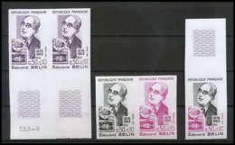 France N°1708 Belin Inventeur Du Bélinographe Photo Essai (trial Color Proof) + Non Dentelé (imperforate) ** - Frankreich