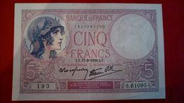 Billet Très Bon état 5 Francs Duval Violet S61095/193 - 1871-1952 Circulated During XXth