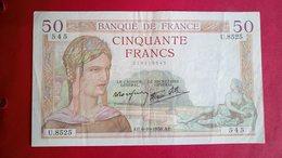 Billet Très Bon état 50frs Cérès U8525/545 - 1871-1952 Anciens Francs Circulés Au XXème