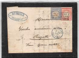 1872.- LETTRE DE FALKENBERG A RIVEZALTES. YV Nº 4 ET 5.. OBLITERATIONS DIVERSES - Germania
