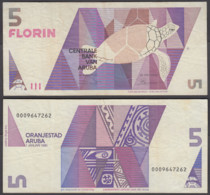 Aruba 5 Florin 1990 (VF) Condition Banknote P-6 - Aruba (1986-...)