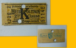 Paris Ticket De Métro Lettre K, 1945, Pub Lame De Rasoir Au Dos, Ref301. ; PAP04 - Toegangskaarten