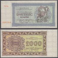 Czechoslovakia 2000 Korun 1945 UNC SPECIMEN Banknote KM #50As - Czechoslovakia