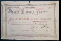 1869 Banca Del Popolo Di Firenze - Azione Di Lire 50 - A - C