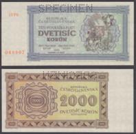 Czechoslovakia 2000 Korun 1945 UNC SPECIMEN Banknote P-50As - Czechoslovakia