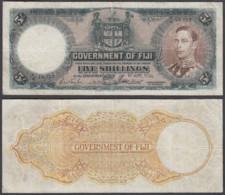 Fiji 5 Shillings 1951 (VG-F) Condition Banknote KM #37k KGVI - Fiji