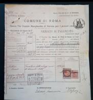 1922 Mandato Di Pagamento Opera Pia Ospizio Margherita Di Savoia - Con Marche Da Bollo - Italia