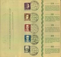 1949, Sonderblatt GOETHEJAHR (Michel 234/238) - Schriftsteller