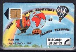 CARTE TELEPHONIQUE F17 LYON FETE SANS FRONTIERE MONTGOLFIERE - TRES BON ÉTAT - RARE - PORT RECOMMANDÉ OFFERT - 1987