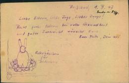 1947, Kriegsgefangenenkarte Aus Russland Mit Handgezeichnetem Osterhasen - Easter