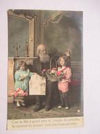JOURNAUX  -  LA LECTURE  -   GRAND-PERE ET PETITS ENFANTS   - PANIER DE FLEURS        TTB - Cartes Postales