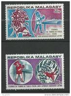 "Madagascar Aerien YT 137 & 138 (PA) "" Tennis De Table "" 1974 Neuf** - Madagascar (1960-...)"