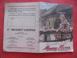 TARIF 1937 - MACHINES DE RECOLTES - MASSEY HARRIS - Format : 11 X 15 Cm  4 Feuilles - Agriculture