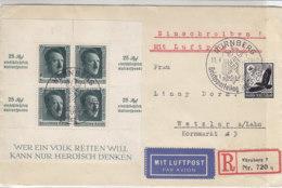 Luftpost R-Brief Mit 537x, Herzstück Block 11 Aus NÜRNBERG 11.9.37 Sonderstempel Nach Wetzlar - Deutschland