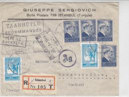 Luftpost R-Brief Mit Einigen Marken Aus ISTAMBUL 15.7.44 Nach Oberberentfelden/Schweiz -  Zensur - 1921-... Republic