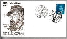 N 41) Spanien 1980 SSt Villareal: Tarrega (Zudruck Braun) - Musik