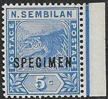 Negri Sembilan, 1893, Tiger, 5 Cents Blue, Opt SPECIMEN,marginal Copy MNH ** - Negri Sembilan