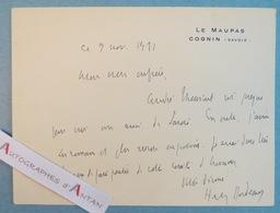 Henry BORDEAUX 1931 Le Maupas Cognon Savoie Comité D'Honneur André THEURIET Né Thonon Les Bains Carte Lettre Autographe - Autographes