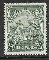 Barbados, GVIR, 19420, 1/2d, Perf 14,  MH *, Gum Tone, Hinge Remnant - Barbados (...-1966)