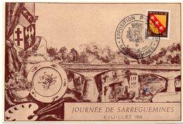 HERALDIQUE = 57 SARREGUEMINES 1954 = CARTE MAXIMUM + CACHET   Illustré D' ARMOIRIES 'EXPOSITION PHILATELIQUE' - Cartes-Maximum