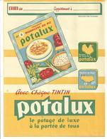 Protège-cahier:  Potage Potalux Chèque Tintin - Potages & Sauces