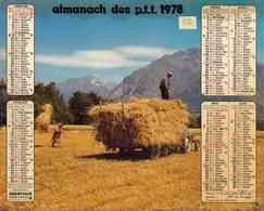 °° Calendrier Almanach PTT 1978 Oberthur - Dépt 32 - Moissons Et Berger Avec Ses Moutons - Calendriers